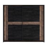 Dulap dormitor Colonial, stejar colonial + carbune, 2 usi glisante, 257.5 x 59.5 x 219 cm, 7C