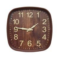 Ceas de perete D3321, analog, patrat, plastic, maro, 30 x 30 cm