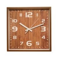 Ceas de perete D3323, analog, patrat, plastic, maro, 29 x 29 cm