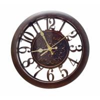 Ceas de perete D3325, analog, rotund, plastic, maro, 28 cm
