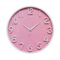 Ceas de perete D3333, analog, rotund, plastic, roz, 30 cm