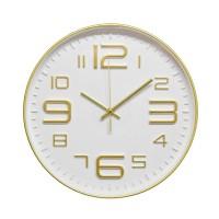 Ceas de perete D3338, analog, rotund, plastic, auriu + alb, 30 cm