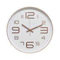 Ceas de perete D3338, analog, rotund, plastic, auriu rose + alb, 30 cm