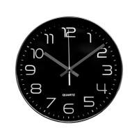 Ceas de perete D3270, analog, rotund, plastic, negru, 25 cm