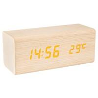 Ceas birou desteptator Home OC 06, digital, afisaj LED, din lemn de fag, 15.6 x 6.5 x 6.5 cm, personalizare afisare ora - data - temperatura, afisare temperatura interioara, reglare luminozitate manuala sau automata, bej