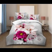 Lenjerie de pat Ema, 2 persoane, microfibra, model floral, 4 piese