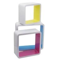 Raft perete D1213, MDF, alb + multicolor, set 3 bucati, 1C