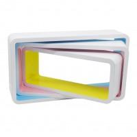 Polita perete D1211, MDF, alb + multicolor, set 3 bucati, 1C