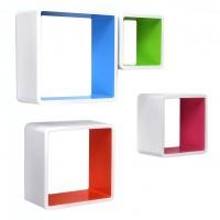 Polita perete D1216, MDF, alb + multicolor, set 4 bucati, 1C