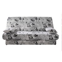 Canapea extensibila 3 locuri Click-Clack Luxeil Gazeta, cu lada, alb + negru, 190 x 88 x 90 cm, 1C