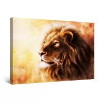Tablou canvas dualview DTB7987, Startonight, Portret de leu, panza + sasiu lemn, 60 x 90 cm