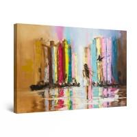 Tablou canvas dualview DTB9355, Startonight, Spre orasul multicolor, panza + sasiu lemn, 60 x 90 cm