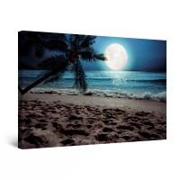 Tablou canvas dualview DTB10395, Startonight, Luna pe plaja , panza + sasiu lemn, 90 x 60 cm
