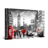 Tablou canvas dualview DTB10744, Startonight, Big Ben in rosu si negru, panza + sasiu lemn, 120 x 80 cm