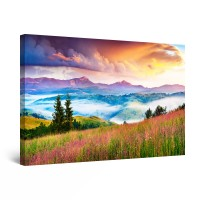 Tablou canvas dualview DTB10939, Startonight, Flori pe dealuri, panza + sasiu lemn, 90 x 60 cm