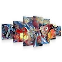 Tablou canvas dualview 7MULTICANVAS216, Startonight, Lume acvatica, panza + sasiu lemn, 7 piese, 100 x 240 cm