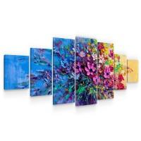 Tablou canvas dualview 7MULTICANVAS220, Startonight, Buchet violet, panza + sasiu lemn, 7 piese, 100 x 240 cm