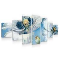 Tablou canvas dualview 7MULTICANVAS248, Startonight, Flori albastrii, panza + sasiu lemn, 7 piese, 100 x 240 cm