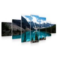 Tablou canvas dualview 7MULTICANVAS261, Startonight, Lac de munte, panza + sasiu lemn, 7 piese, 100 x 240 cm