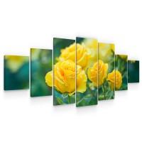 Tablou canvas dualview 7MULTICANVAS271, Startonight, Trandafiri galbui, panza + sasiu lemn, 7 piese, 100 x 240 cm
