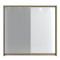 Dulap dormitor Mondego 220, cu rama si LED, stejar artisan + folie lucioasa alba, 2 usi glisante, cu oglinda, 227 x 62.5 x 214 cm, 10C