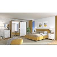 Dormitor complet Mondego, stejar artisan + alb mat + folie lucioasa alba + galben, 5 piese, 15C