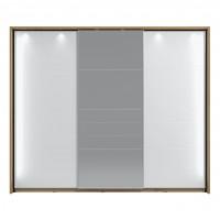 Dulap dormitor Mondego 270, cu rama si LED, stejar artisan + folie lucioasa alba, 3 usi glisante, cu oglinda, 273 x 65.5 x 228 cm, 11C