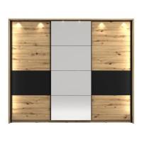 Dulap dormitor Sardinia 270, cu rama si LED, stejar artisan + negru, 3 usi glisante, cu oglinda, 273 x 65.5 x 228 cm, 11C