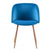 Scaun bucatarie / living fix Ynez, tapitat, metal stejar + textil albastru deschis