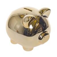 Pusculita pentru economii 34148, ceramica, auriu, 12 x 10 x 9.5 cm