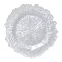 Platou decorativ 6377, sticla, perla, 33 x 2 cm