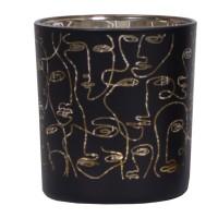 Suport lumanare 1323, sticla, negru, 7.3 x 8 cm