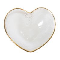 Platou decorativ 4012, sticla transparenta, forma inima, 15 x 13.5 x 6 cm