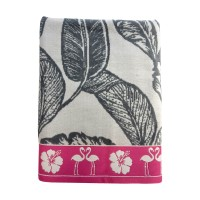 Prosop plaja cu imprimeu tropical, bumbac egiptean, gri / roz, 100 x 180 cm