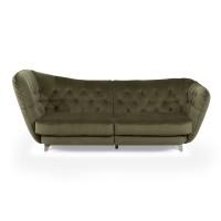 Canapea fixa 3 locuri Retro Links, verde, 256 x 115 x 98 cm, 2C
