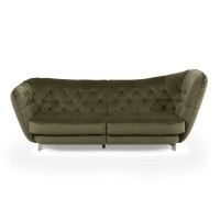 Canapea fixa 3 locuri Retro Rechts, verde, 256 x 115 x 98 cm, 2C