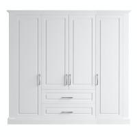 Dulap dormitor Roma, alb mat, 4 usi, 220 x 62 x 198 cm, 4C