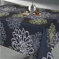 Fata de masa Atria Contempo, PVC, negru, model floral, 140 x 140 cm
