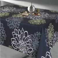 Fata de masa Atria Contempo, PVC, negru, model floral, 140 x 240 cm