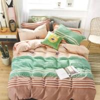 Lenjerie de pat 010721, 2 persoane, microfibra, imprimeu multicolor, 4 piese