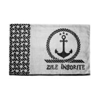 "Prosop plaja ""Zile insorite"", bumbac egiptean, gri / negru, 90 x 160 cm"