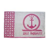 "Prosop plaja ""Zile insorite"", bumbac egiptean, gri / roz, 90 x 160 cm"