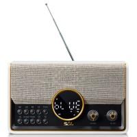 Radio FM portabil Sal RRT 5B, 10 W, design retro, alimentare acumulator, HiFi stereo, Bluetooth, USB, microSD card reader, Aux in, iesire casti, microfon pentru convorbiri telefonice, ecran cu luminozitate reglabila, crem + negru