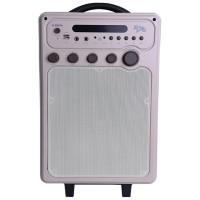 Boxa portabila activa E-Boda Retro Karaoke 100, 60 W, Bluetooth, USB, micro SD card slot, Aux in, intrare microfon, radio FM, afisaj LED, egalizator, crem, microfon, telecomanda