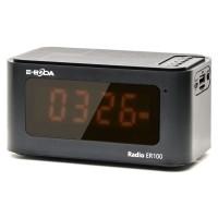Radio FM E-Boda ER100, cu ceas, 5 W, baterie incorporata 1200 mAh, USB, microSD card reader, Aux in, display digital, functie de alarma, negru