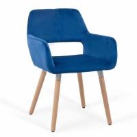 Scaun bucatarie / living fix BUC 280, tapitat, lemn fag + catifea albastra