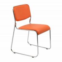 Scaun birou vizitator HRC 604, fix, imitatie piele, portocaliu