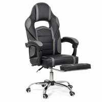 Scaun birou gaming OFF 302, rotativ, imitatie piele, negru + gri, 1C