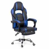 Scaun birou gaming OFF 302, rotativ, imitatie piele, negru + albastru, 1C