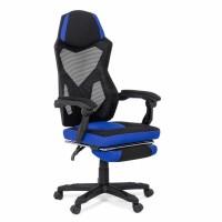 Scaun birou gaming OFF 304, rotativ, textil + mesh, negru + albastru, 1C